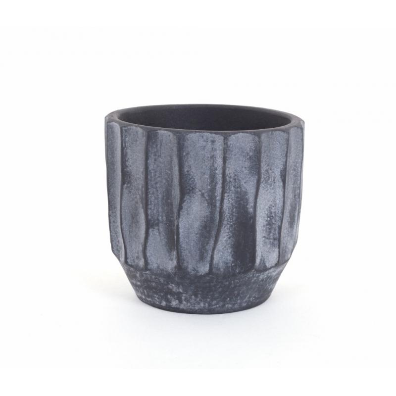 Ca che Pot Orchidée Wavy Noir Patiné d 14 x h 13 cm