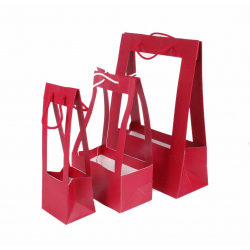 PORTE BOUQUET - Sac MM 25x13x40 cm Rouge par 10