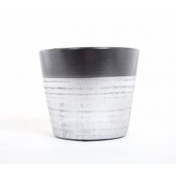 Cache Pot Céramique Argent/ Noir d 12.5 x h 10 cm