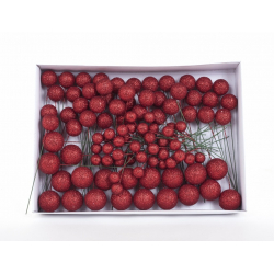 Boule Noel d20/30/40mm sur pique Rouge par 100