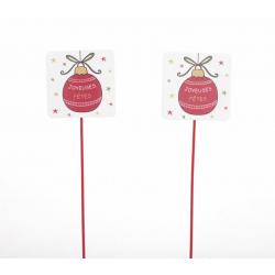 Pique Ardoise Carrée Boule de Noel h 28 cm