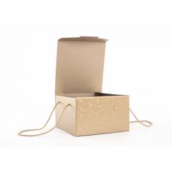 SFERE - Boite Carton avec Cordelette Rond Or 24.5 x 24.5 x 18 cm