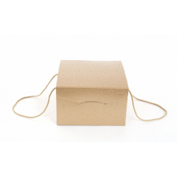 Boite Carton avec Cordelette Rond Or 24.5 x 24.5 x 18 cm