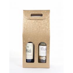 Sac Carton 2 bouteilles Rond Or 18 x 9 x 38,5 par 10