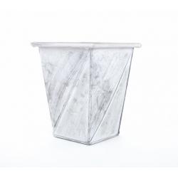 Cache Pot Argent Brossé 16.5x16.5x h20.5 cm