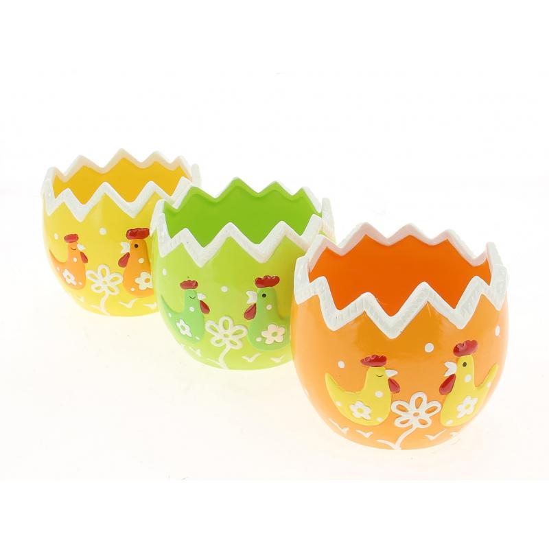 DINO - Cache Pot Céramique Œuf Orange D12 x H10 cm