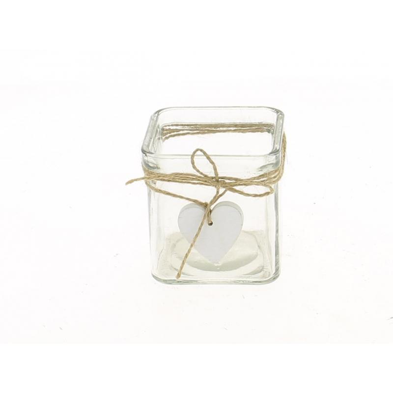 TIMO - Cube Verre avec Cœur Blanc L7,5 x H7,5 cm
