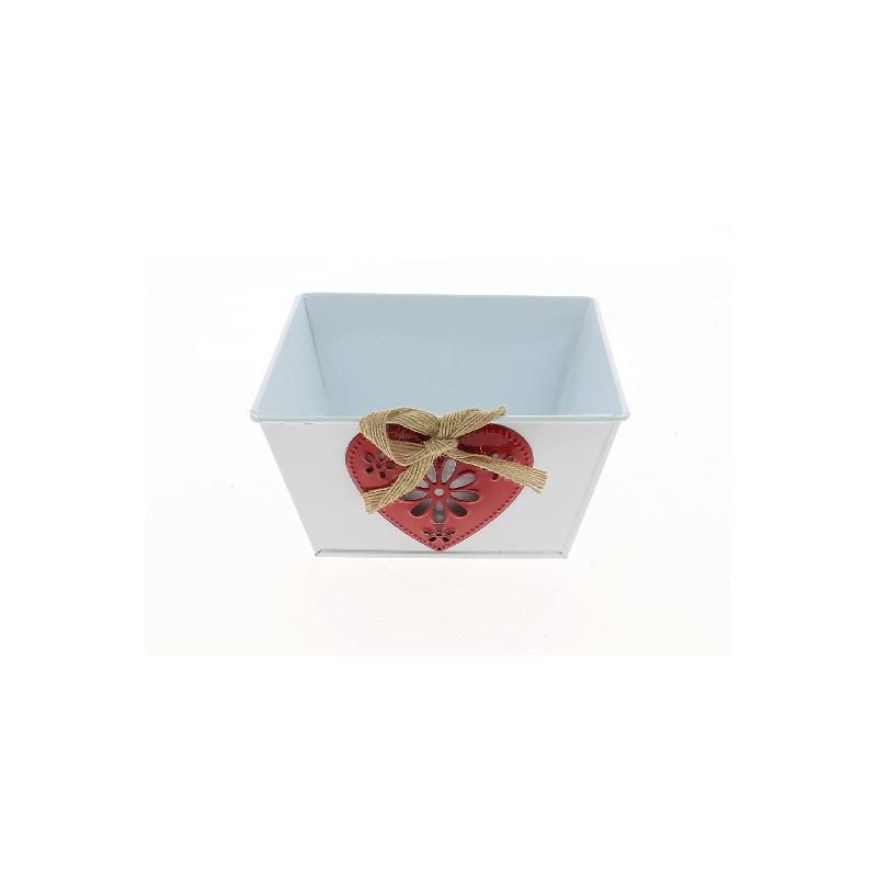 JILL - Coupe Zinc Rectangle Blanc avec Cœur Rouge L15 x P11 x H8 cm