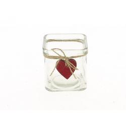 TIMO - Cube Verre avec Cœur Rouge L7,5 x H7,5 cm