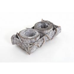 Contenant Bois Corde avec 2 Pots 30 x 19 cm