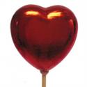 Coeur Nacré Rouge sur Pique D7 X H50 cm par 10