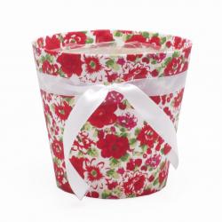 Cache Pot Bois Fleuri Rouge D12 x H12 cm