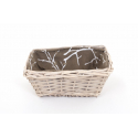 Corbeille Osier Brut + Tissu Rectangle 20 x 15 x h9.5 cm