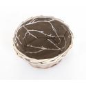 Corbeille Osier Brut + Tissu Ronde d17 x h9.5 cm