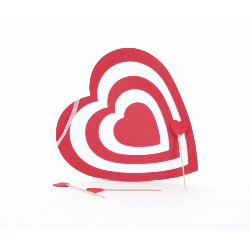 CUPIDON - Cœur Mousse et Flèches Rouge et Blanc D30 cm
