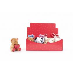 TEDDY - Ours Mini Peluche avec Cœur Coloris Assortis par 12