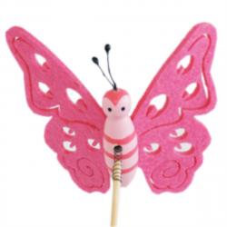 Papillon sur Pique Feutrine Rose D9 x H50 cm par 10