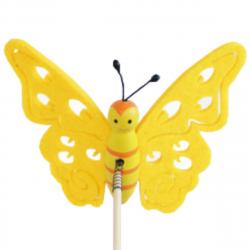 Papillon sur Pique Feutrine Jaune D9 x H50 cm par 10