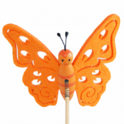 Papillon sur Pique Feutrine Orange D9 x H50 cm par 10
