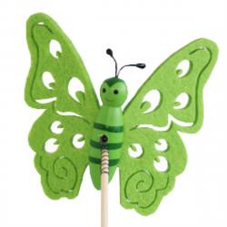 Papillon sur Pique Feutrine Vert D9 x H50 cm par 10