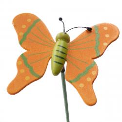 Papillon sur Pique Bois Orange D7 x H50 cm par 10