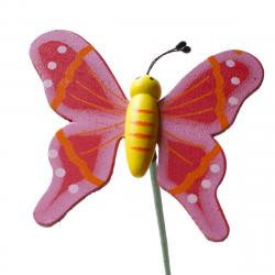 Papillon sur Pique Bois Rouge D7 x H50 cm par 10