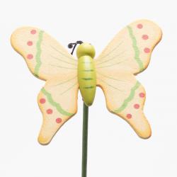 Papillon sur Pique Bois Jaune D7 x H50 cm par 10