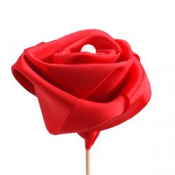 Rose Perle sur Pique Rouge D7.5 x H50 cm par 10