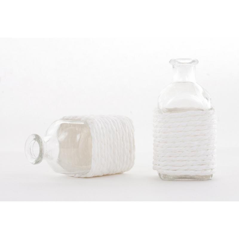 LEXA - Bouteille Verre et Corde Blanc D5,5 x H10,5 cm