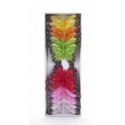 Papillon sur Tige Assortis D8 cm par 12
