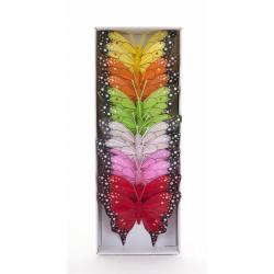 Papillon sur Tige Assortis D10 cm par 12
