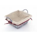 Corbeille Osier Carré 2 anses avec Tissu 24 x 24 x h10 cm