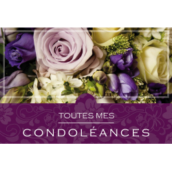 Carte Sincères Condoléances Grand Format par 10