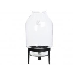 ARNE - Vase Verre avec Support Métal Noir D17 x H26 cm