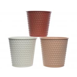 ANIA - Cache Pot Zinc Perlé Assortis D14 x H12 cm par 3