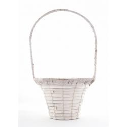 ALIX - Vannerie Ronde Blanchie avec Anses D24 x H16/43 cm