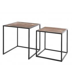 OSLO - Table Basse Carrée Bois et Métal Noir L36 x H36 cm