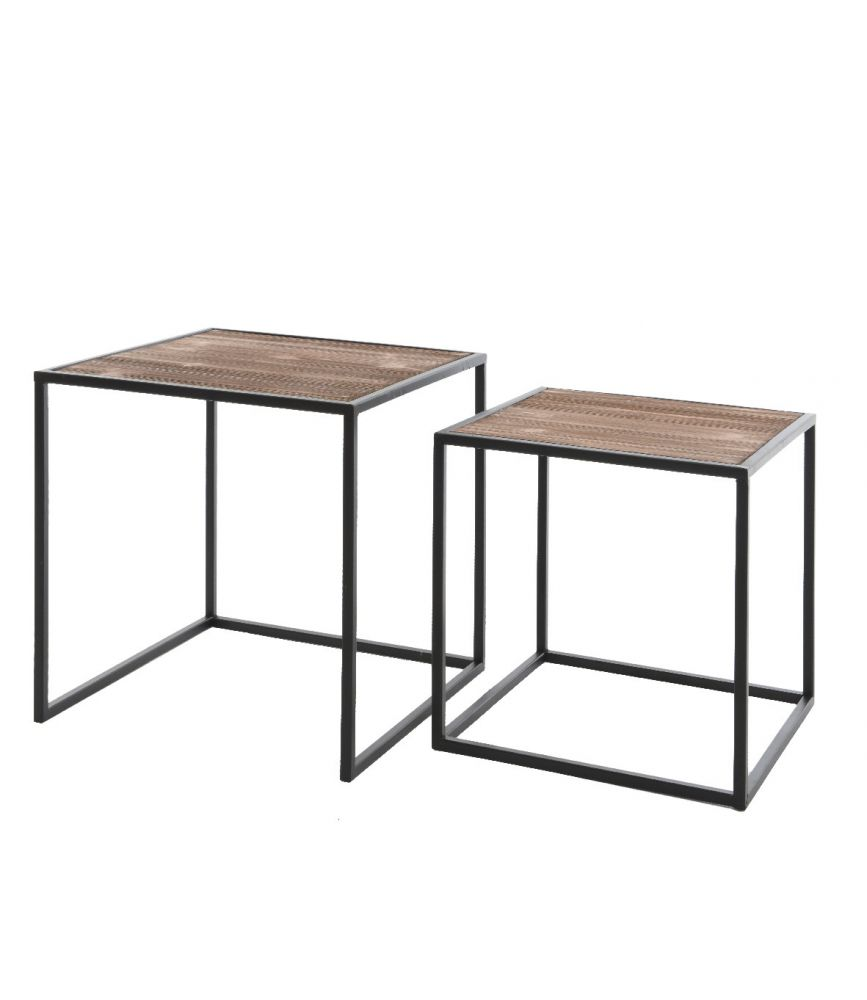 Oslo table basse carr e bois et m tal noir l36 x h36 cm for Table basse carree metal