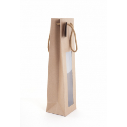 Sac Kraft+Fenêtre 1 Bouteille 10x9x38-20 sacs