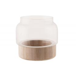 ANIS - Vase Verre avec Support Bois Brut D13,5 x H16 cm