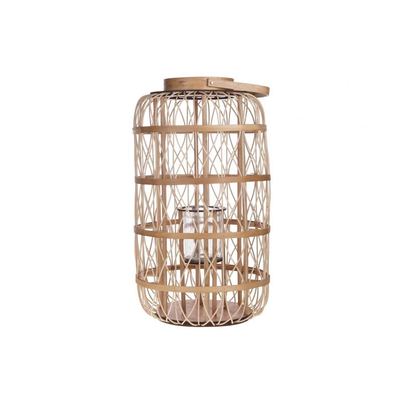 MANO - Lanterne Rattan Naturel avec Verre D46 x H80 cm