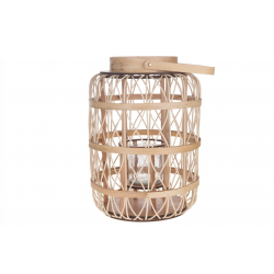 MANO - Lanterne Rattan Naturel avec Verre D39 x H50 cm