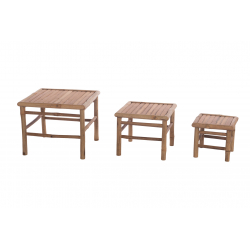 LOTUS -Table Basse Carré en Bambou L40 x H35 cm en Set de 3