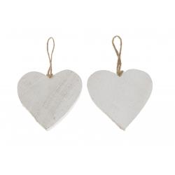 HEART - Cœur Bois Blanc avec Corde D15 cm par 10