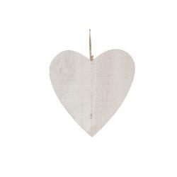HEART - Cœur Bois Blanc avec Corde D25 cm par 5