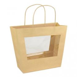 CHIC - Sac Anses Kraft, avec Fenêtre plastique 30x24x25 cm par 10