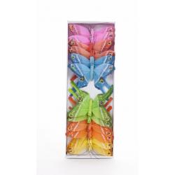 Papillons sur Tige Assortis D8 cm par 12