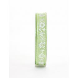 KIRI - Ruban Tissu Fleurs Vert 15mm x 20m