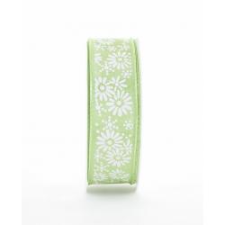 KIRI - Ruban Tissu Fleurs Vert 25mm x 20 m