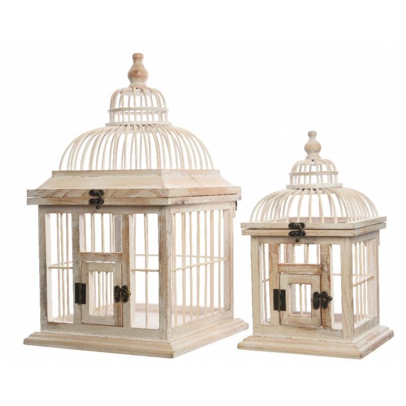 KAD - Cage à Oiseaux Carrée Bois et Métal Blanc L17 x H34 cm